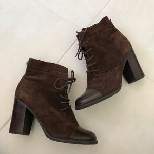 Franco Sarto Ozzie Suede Lace Up Ankle Booties